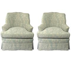 Pair of Custom Upholstered Linen Lounge Chairs