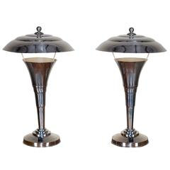 Pair of Vintage French Art Deco Chrome Lamps, circa 1935