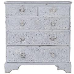 Antique English Jacobean Oak Chest of Drawers Painted Finish, circa 1840