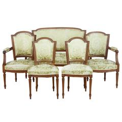 19th Century French Walnut Five-Piece Salon Suite