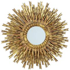 20th Century Carved Sunburst Mirror