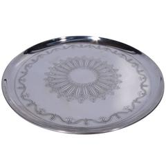 Antique Tiffany Sterling Silver Cake Plate with Flower