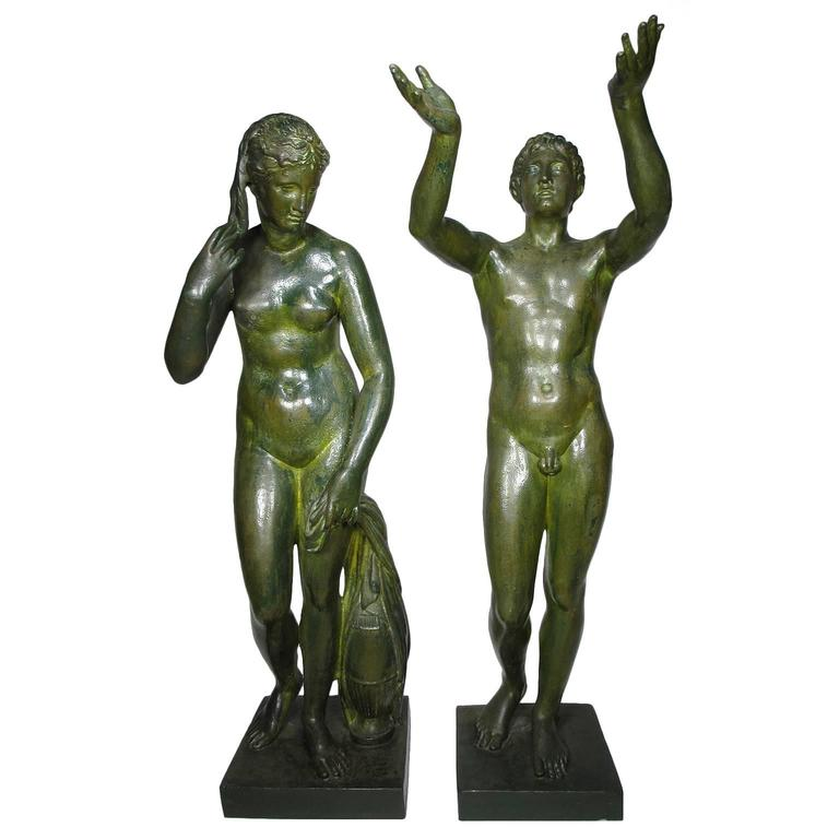 Large Pair of Neoclassical Greco Roman Style 19th Century Cast-Iron Figures For Sale