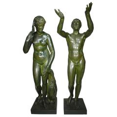 Large Pair of Neoclassical Greco Roman Style 19th Century Cast-Iron Figures