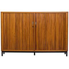 Beautiful Mid-Century Oak Tall Tambour Sideboard