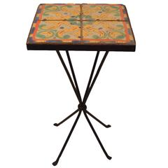 Tile Top Stand with Wrought Iron Base Attributed to Catalina Tile