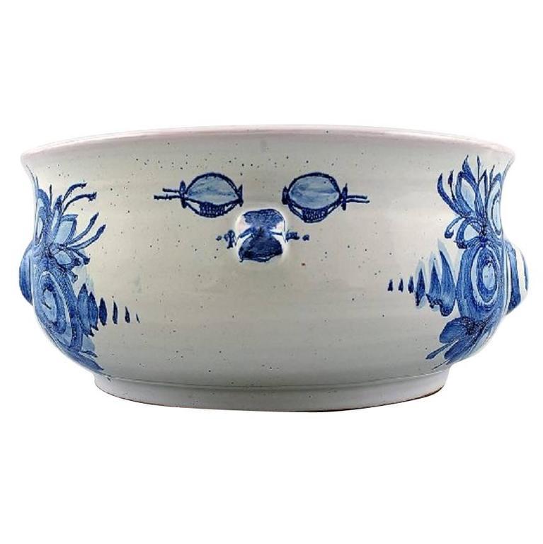 Bjorn Wiinblad Unique Ceramic Flower Pot Blue Glaze For