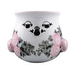 Bjorn Wiinblad Unique Ceramic Vase / Flower Pot, Pink and Gray Glaze