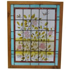 Victorian Hand-Painted Stained Glass Window with Swallows and Dogwood Blossoms