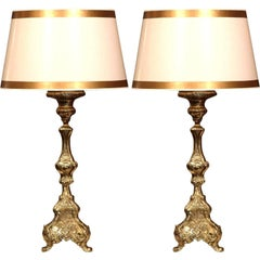 Pair of 19th Century, French Repousse Brass Candlesticks Mounted into Lamp Bases