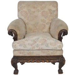 Antique Georgian Style Parlor Chair with Swan Heads