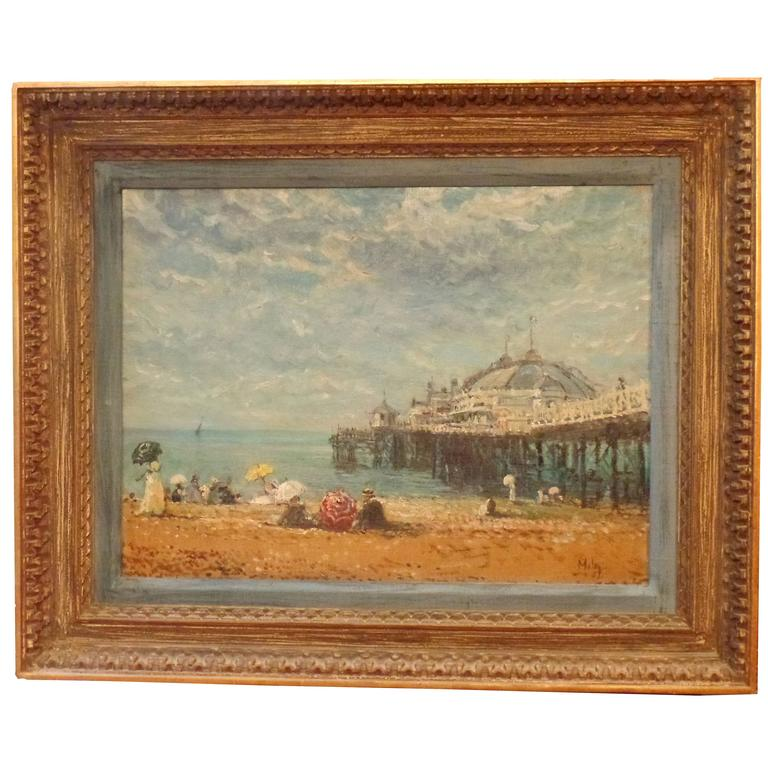 "20th Century Oil Painting ""The Brghton Pier"", Signed Maley"