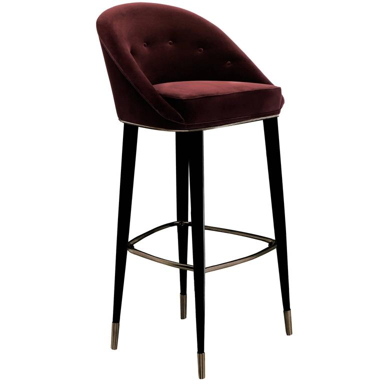 Bar Stool Myla With Cotton Velvet Seat And Black Lacquered