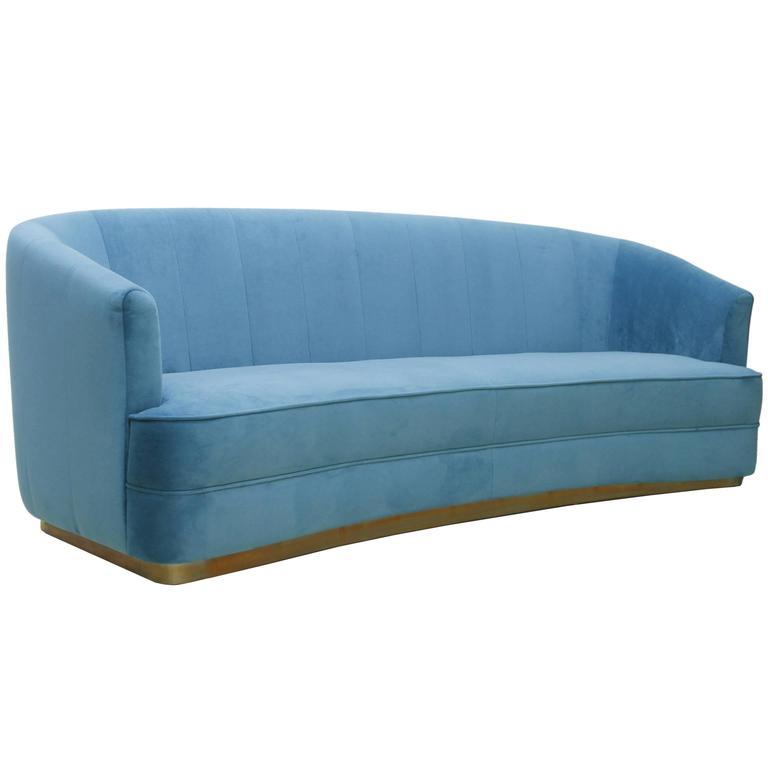 Saga Sofa in Cotton Velvet Fabric Brass Base