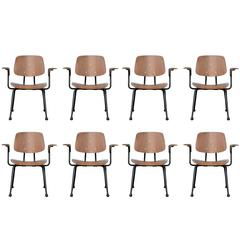 Set of Eight Mid-Century Modern Prouve Style Walnut Plywood Armchairs