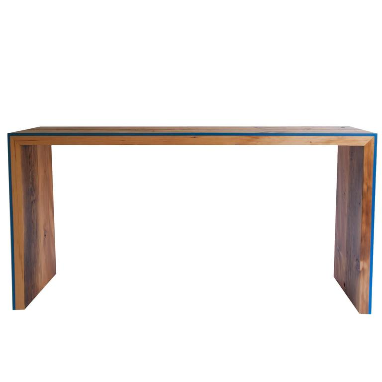 Monster Island Console Table in Reclaimed Fir, Edged in Resin