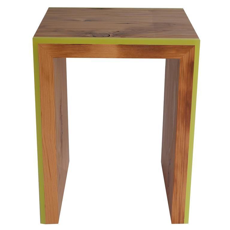 Monster Island Side Table Or Stool In Reclaimed Fir, Edged In Resin 1