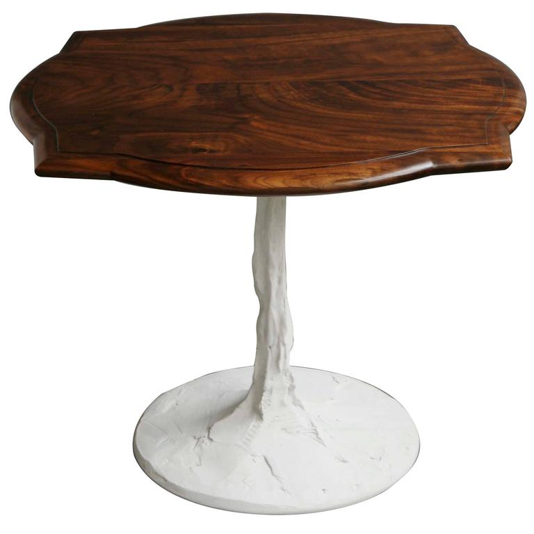 Caption Side Table in Figured Walnut with Concrete Pedestal Base For Sale