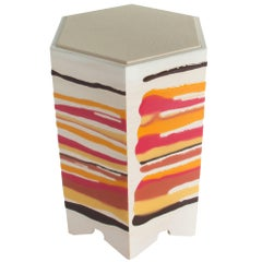 Drip or Fold Side Table in Ash, Resin and Leather - in stock