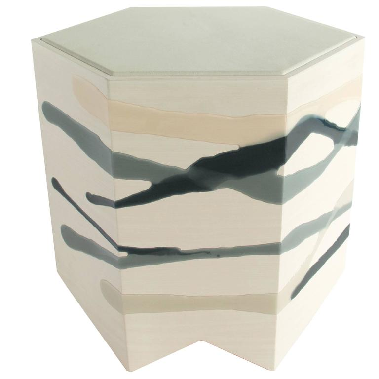 Drip / Fold Side Table in Ash, Resin and Leather For Sale