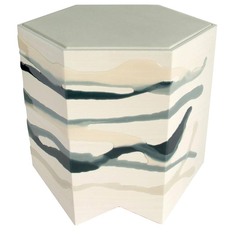 Drip / Fold Side Table in Ash, Resin and Leather