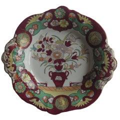 Mason's Ironstone Handled Desert Bowl in Fence Vase and Doves Pattern, Ca 1825