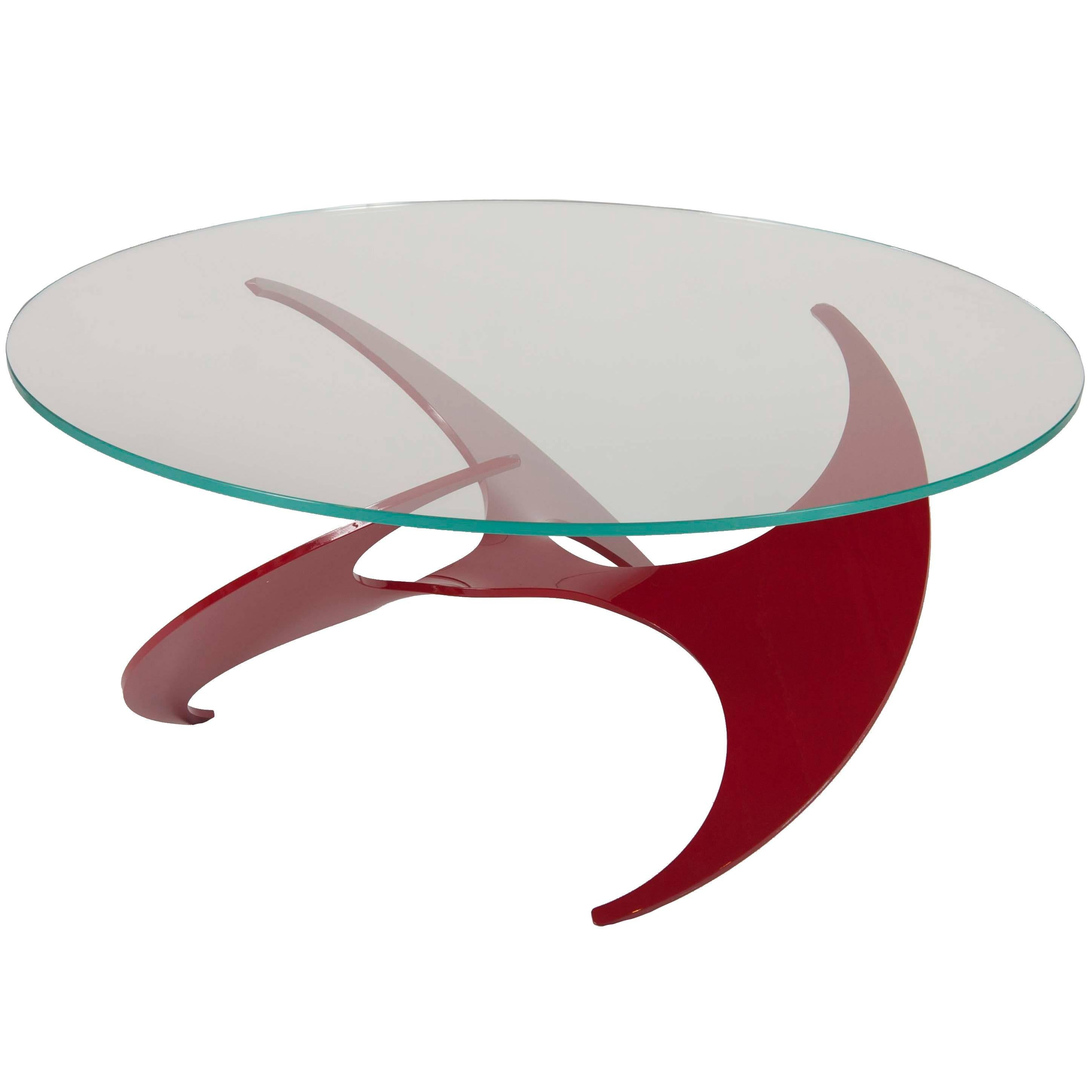 """Knut Hesterburg """"Propeller"""" Coffee Table in Cherry Enamel over Anodized Aluminum"""