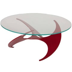 "Knut Hesterburg ""Propeller"" Coffee Table in Cherry Enamel over Anodized Aluminum"