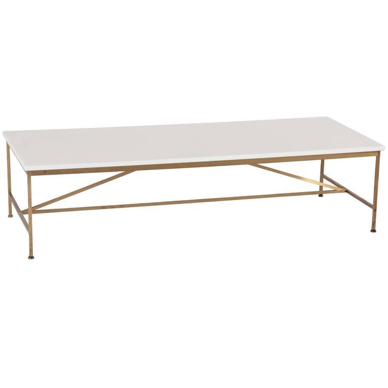Elegant Paul McCobb Brass Frame Coffee Table With White Vitrolite Glass Top 1