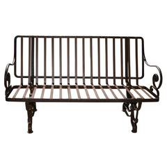 Antique French Iron Park Bench