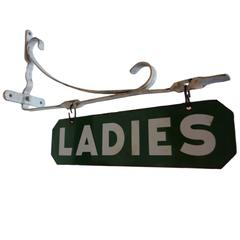 Double-Sided Porcelain 'Ladies' Sign with Wall Mount Bracket