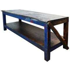 1940s Industrial Wood and Metal Workbench