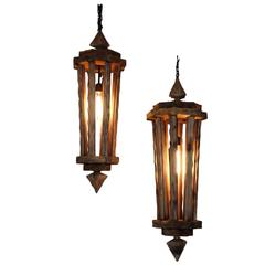 Pair of Studio Craft Rustic Lanterns, circa 1970