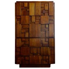 Lane Brutalist Mosaic High Boy Cabinet