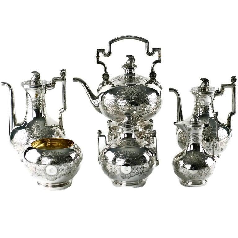John R Wendt for Ball Black & Co Seven-Piece Medallion Sterling Tea & Coffee Set For Sale