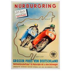 Original Vintage Motorcycle Racing Poster - Nurburgring German Grand Prix 1955