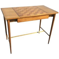 Paul McCobb Game Table with Brass Details and Inlay Top