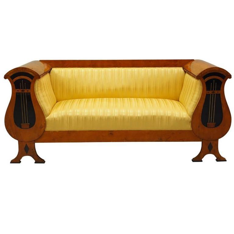 Period Biedermeier Sofa In Custom Silk Upholstery At 1stdibs