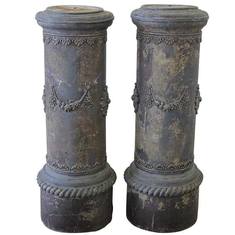 19th Century Zinc Garden Columns Pedestals with Floral Swags at