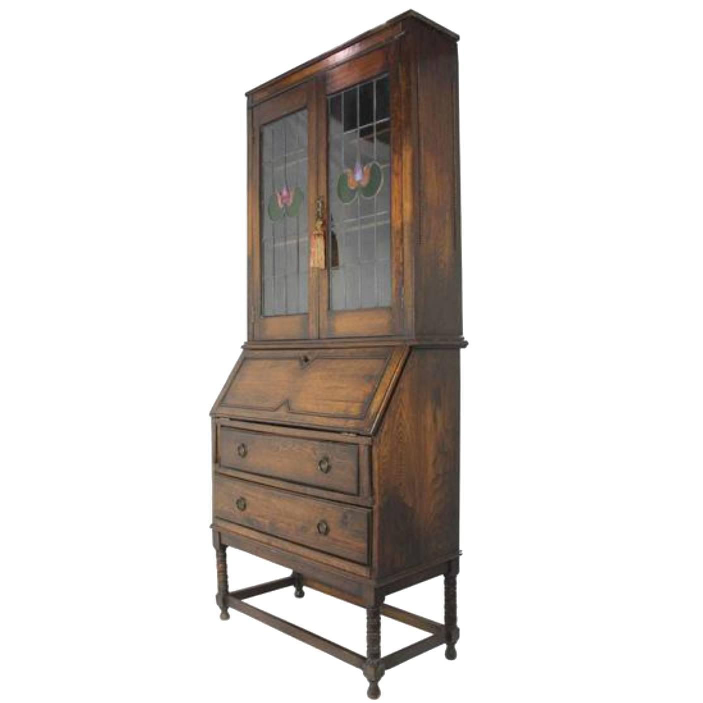 English arts and crafts secretary with hutch and leaded for Crafting desks for sale