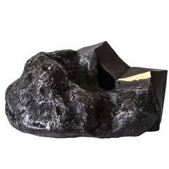 Asteroid Ceramic Vase Handbuilt with Black Clay with 23-Karat Gold Detail