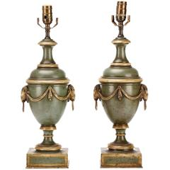 Pair of French Tole Neoclassic Urns