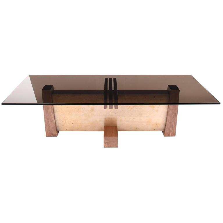 FLW Cocktail Table in Etched Bronze, Walnut and Smoked Glass by Studio Roeper 1