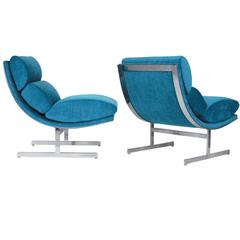 Pair of Turquoise Stainless Steel Chairs by Kipp Stewart