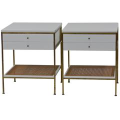 Rare White Paul McCobb Irwin Collection Brass Nightstands with Vitrolite Tops