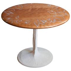 Sky with Diamonds Side Table in Cherry with Concrete Pedestal Base