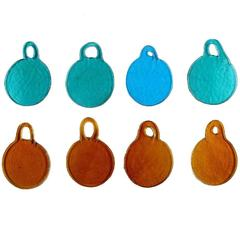 Eight Retro Art Glass Hangers from Holmegaard in Different Colors, circa 1969
