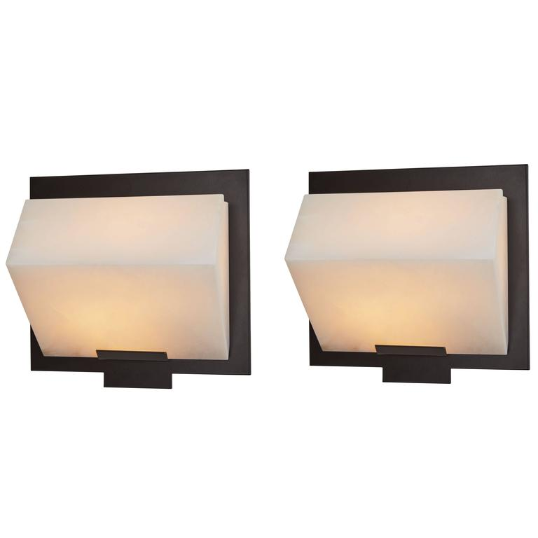 Simple Sloping Block Wall Lamp by Pierre Chareau Model SBA 118 For Sale