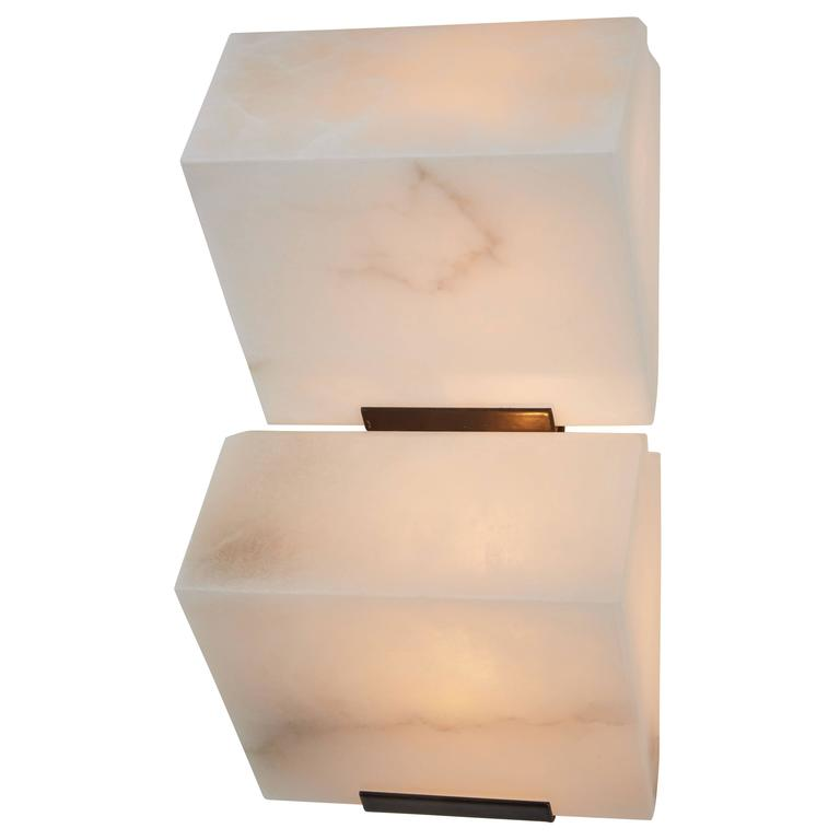 Double Sloping Block Wall Lamp by Pierre Chareau Model DBA 109 For Sale