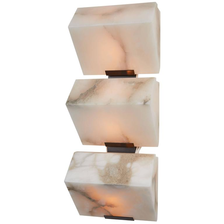 Triple Sloping Block Wall Lamp by Pierre Chareau Model TBA 110